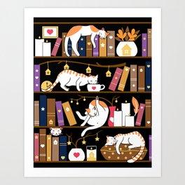 Library cats - caramel chocolate Art Print
