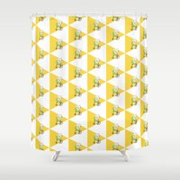 cycling Shower Curtains featuring Cycling Polar Bear Triangle by Doucette Designs