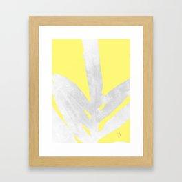 Green Fern on Lemon Yellow Inverted Framed Art Print