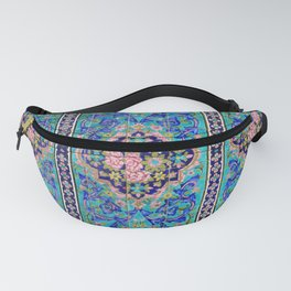 Turquoise Floral tile Fanny Pack