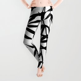 Black and White Watercolor Bamboo Seamless Pattern Leggings