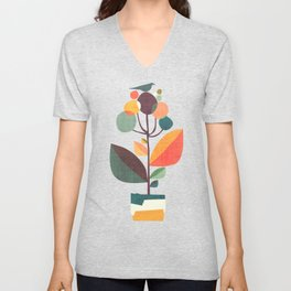 Potted plant with a bird Unisex V-Neck