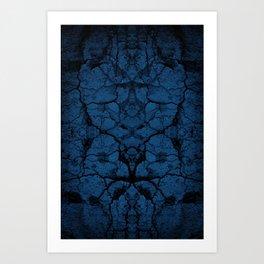 Blue cracked wall pattern Art Print
