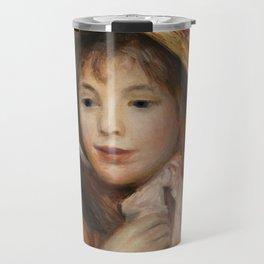 """Auguste Renoir """"Girl with Pink Bonnet (Jeune fille au chapeau rose)"""" Travel Mug"""