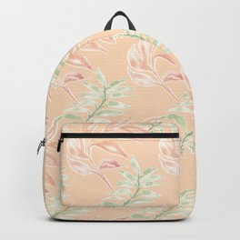 Soft Green & Pink Pastel Caladium leaves_ Mod watercolor  Backpack
