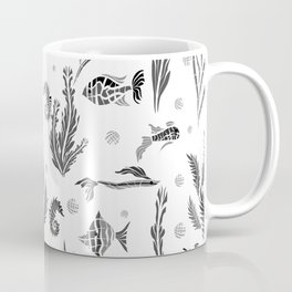 Black and white pattern. Fish . Coffee Mug