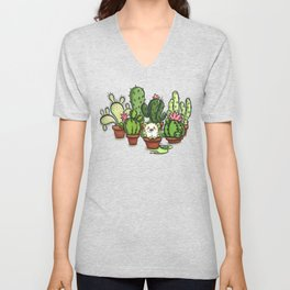 Green - Cactus and Hedgehog Unisex V-Neck