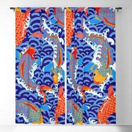 Koi fish / japanese tattoo style pattern Blackout Curtain
