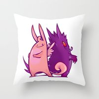 gengar Throw Pillows featuring Clefable and Gengar by Ida Dobnik