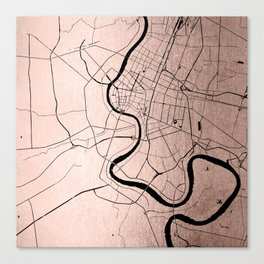 Bangkok Thailand Minimal Street Map - Rose Gold Pink and Black Canvas Print