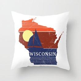Wisconsin State WI Sailboat Sunset Print Throw Pillow