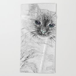 Siberian Kitty Cat Laying on the Marble Slab Beach Towel