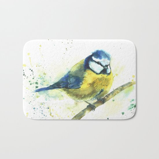 Watercolor titmouse bird Bath Mat