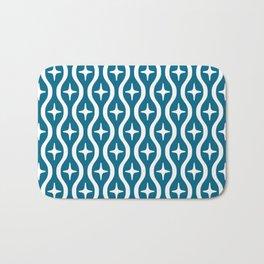 Mid century Modern Bulbous Star Pattern Peacock Blue Bath Mat