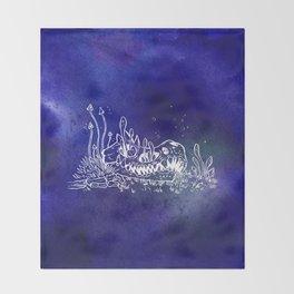 Dino skull – Blue Throw Blanket