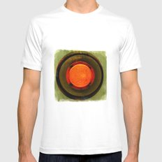 big red button White MEDIUM Mens Fitted Tee