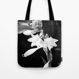Black-and-White Hosta Flower Tote Bag