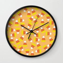 Candy Corn Jumble (light orange background) Wall Clock