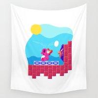 mario bros Wall Tapestries featuring Teeny Tiny Worlds - Super Mario Bros. 2: Birdo by Paperbeatsscissors