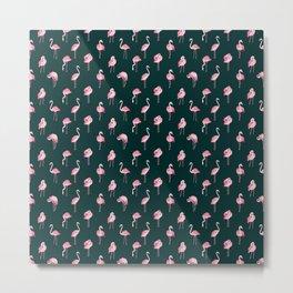 Pink Flamingo Pattern, Cute Animals Metal Print
