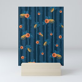 Pa Pa Papaya on Blue Mini Art Print