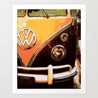 volkswagon Art Prints featuring Volkswagon Van by Alexandra Kube