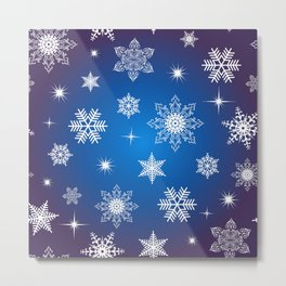 Seamless snowflake background Metal Print