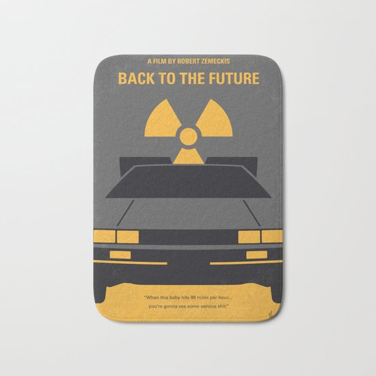 No183 My Back to the Future minimal movie poster Bath Mat