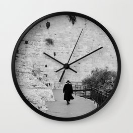 Portrait of a men walking to The Western Wall in the Old City, Jerusalem | Holy place for religious jewish people in Israel | Travel photography black and white Wall Clock