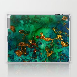 Emerald And Blue Glitter Marble Laptop & iPad Skin