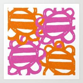 Fun Flowers Large pink orange Art Print