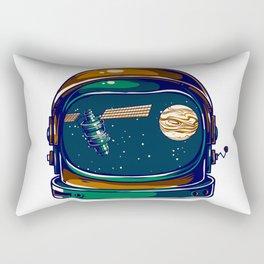 Astronaut Helmet - Satellite and the Moon Rectangular Pillow