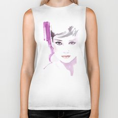 Fashion illustration in watercolors and ink Biker Tank