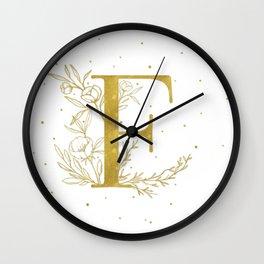 Letter F Gold Monogram / Initial Botanical Illustration Wall Clock