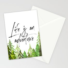 Life Is An Adventure, Room Decor, Dorm Decor, Travel Art, Inspirational Quote Stationery Cards