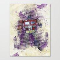 optimus prime Canvas Prints featuring G1 - Optimus Prime by DesignLawrence