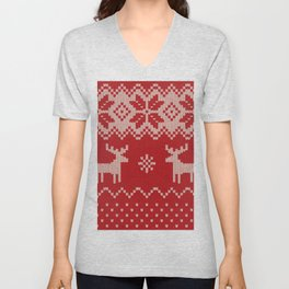 Lovely christmas knitting with deer and snowflakes illustration pattern Unisex V-Neck