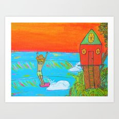 hang 10 surf dude tree house living Art Print
