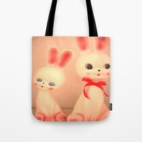 bunnies Tote Bags featuring  Bunnies by Vintage  Cuteness