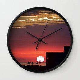 Modern Glowing Sunset Over Newport Beach CA Wall Clock