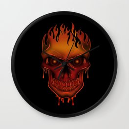 Flame Skull Wall Clock