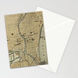 Vintage Map of Milwaukee WI (1904) Stationery Cards