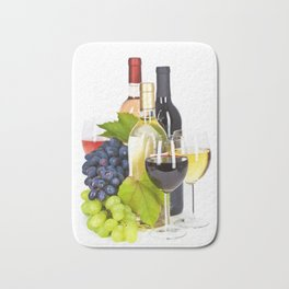 Fresh grape  and wine isolated on white Bath Mat