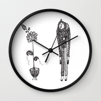 vegetarian Wall Clocks featuring Confessions of a vegetarian by Ivana Zdravkovic