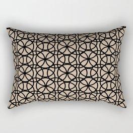 Pantone Hazelnut and Black Rings Circle Heaven, Overlapping Ring Design Rectangular Pillow