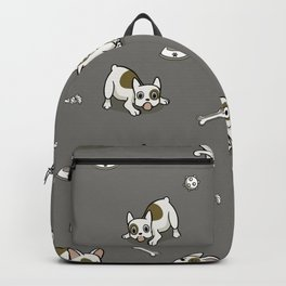 Sweet Frenchie Bulldog Puppies Pattern Grey Background Backpack
