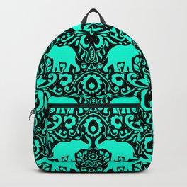 Elephant Damask Mint and Black Backpack
