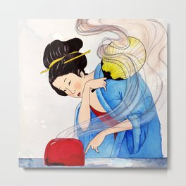 Mrs Hokusai Burns The Toast Metal Print
