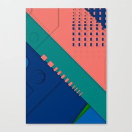 Color material design, paper layers with dynamic halftones Canvas Print