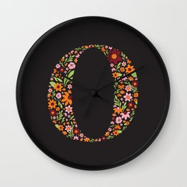 Retro Floral Letter O Wall Clock